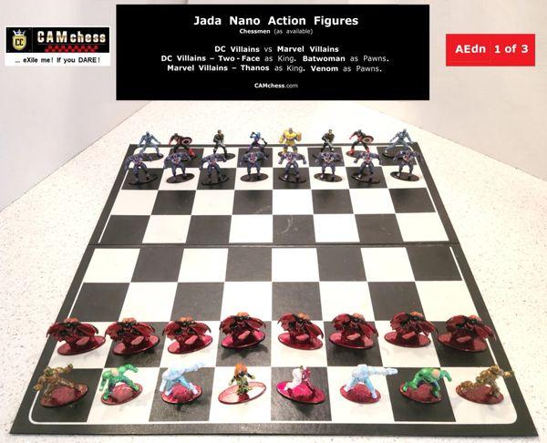 Chess Pieces: Jada Nano Action Figures. DC Villains vs Marvel Villains. Batwoman Pawns vs Venom Pawns. CAMchess.com Chessmen.