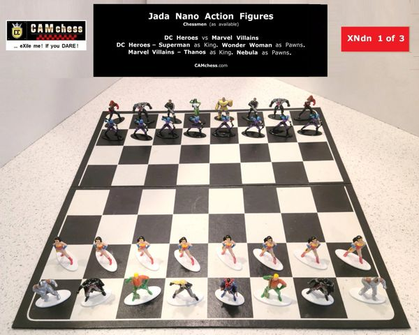 Chess Pieces: Jada Nano Action Figures. DC Heroes vs Marvel Villains. Wonder Woman Pawns vs Nebula Pawns. CAMchess.com Chessmen.