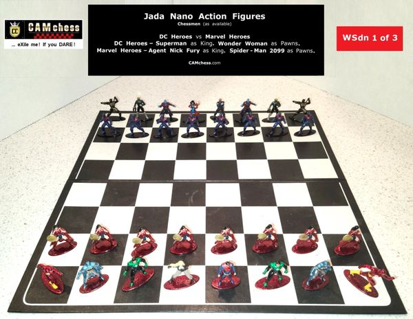 Chess Pieces: Jada Nano Action Figures. DC Heroes vs Marvel Heroes. Wonder Woman Pawns vs Spider-Man 2099 Pawns. CAMchess.com Chessmen.