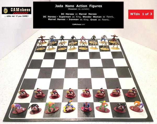 Chess Pieces: Jada Nano Action Figures. DC Heroes vs Marvel Heroes. Wonder Woman Pawns vs Groot Pawns. CAMchess.com Chessmen.