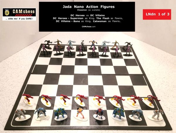 Chess Pieces: Jada Nano Action Figures. DC Heroes vs DC Villains. Flash Pawns vs Catwoman Pawns. CAMchess.com Chessmen.