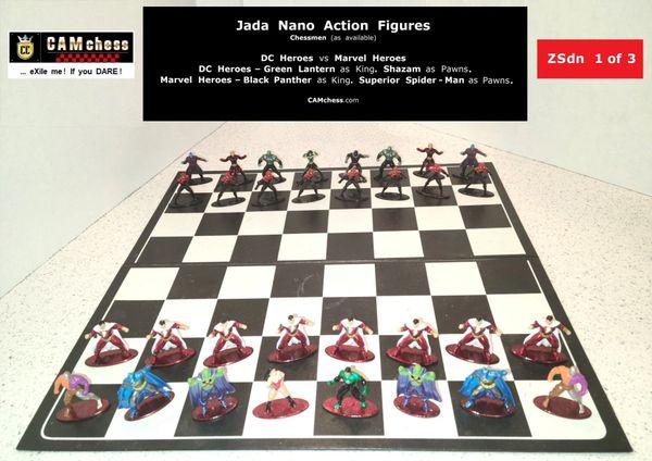 Chess Pieces: Jada Nano Action Figures. DC Heroes vs Marvel Heroes. Shazam Pawns vs Superior Spider-Man Pawns. CAMchess.com Chessmen.