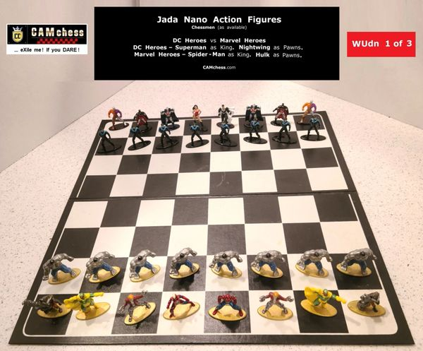 Chess Pieces: Jada Nano Action Figures. DC Heroes vs Marvel Heroes. Nightwing Pawns vs Hulk Pawns. CAMchess.com Chessmen.