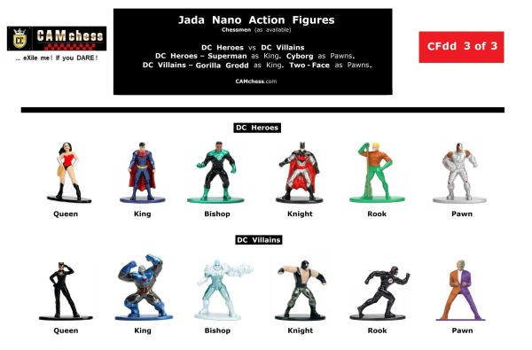 Chess Pieces: Jada Nano Action Figures. DC Heroes vs DC Villains. Cyborg Pawns vs Two-Face Pawns. CAMchess.com Chessmen.