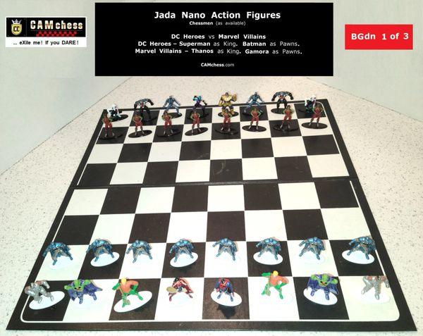Chess Pieces: Jada Nano Action Figures. DC Heroes vs Marvel Villains. Batman Pawns vs Gamora Pawns. CAMchess.com Chessmen.
