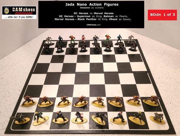 Chess Pieces: Jada Nano Action Figures. DC Heroes vs Marvel Heroes. Batman Pawns vs Okoye Pawns. CAMchess.com Chessmen.