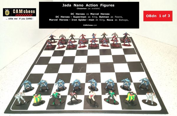 Chess Pieces: Jada Nano Action Figures. DC Heroes vs Marvel Heroes. Batman Pawns vs Nova Bishops. CAMchess.com Chessmen.