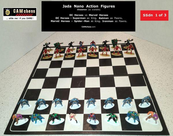 Chess Pieces: Jada Nano Action Figures. DC Heroes vs Marvel Heroes. Batman Pawns vs Ironman Pawns. CAMchess.com Chessmen.