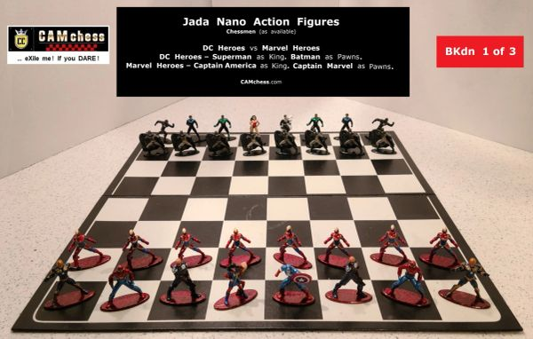 Chess Pieces: Jada Nano Action Figures. DC Heroes vs Marvel Heroes. Batman Pawns vs Captain Marvel Pawns. CAMchess.com Chessmen.