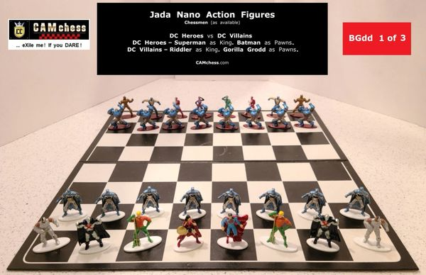 Chess Pieces: Jada Nano Action Figures. DC Heroes vs DC Villains. Batman Pawns vs Gorilla Grodd Pawns. CAMchess.com Chessmen.