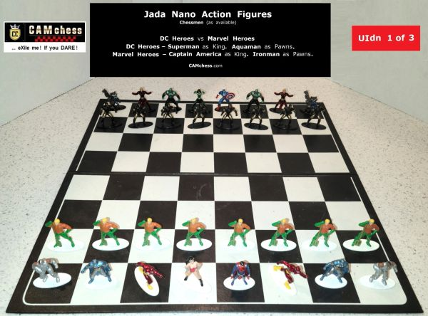 Chess Pieces: Jada Nano Action Figures. DC Heroes vs Marvel Heroes. Aquaman Pawns vs Ironman Pawns. CAMchess.com Chessmen.