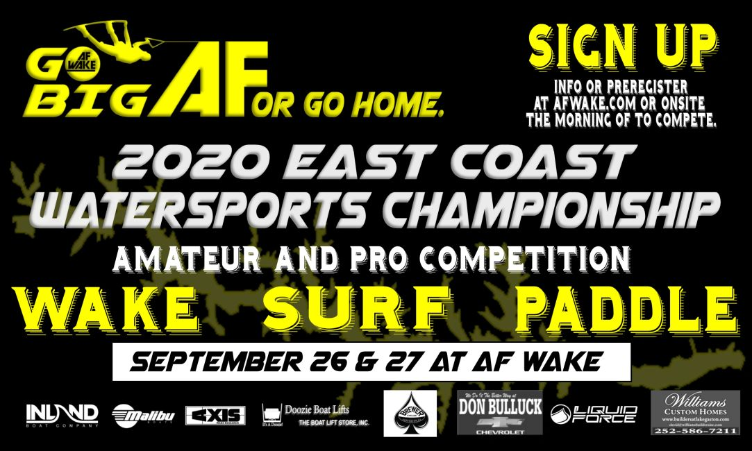 Wakeboard and wakesurf competition at war wake on Lake Gaston North Carolina