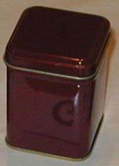 100 gram square tin Burgundy