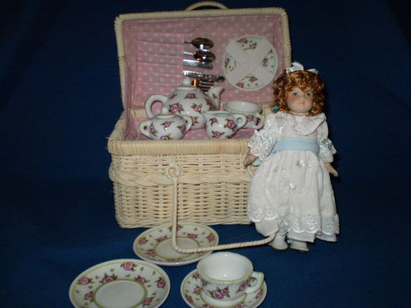 Little Girl Tea set Birthstone doll December