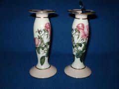 Pink Rose Candlesticks from Goebel