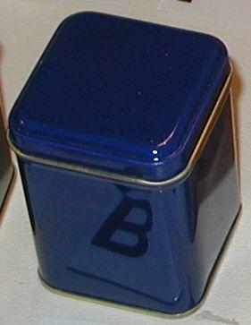 50 gram square tin Blue