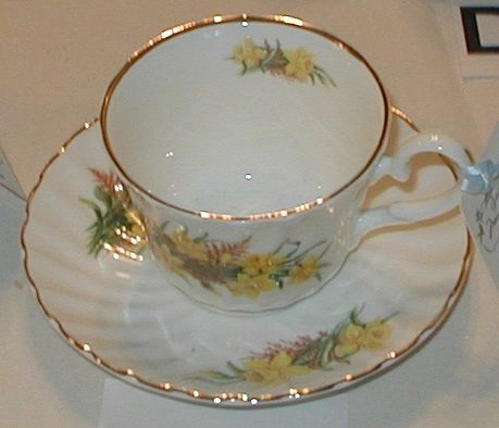 Yellow Flowers cup and saucer
