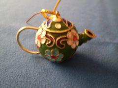 Mini Tea Pot Ornament Green