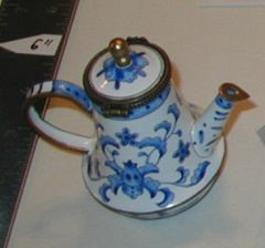 Enamel over copper painted tea pot Blue and White Floral