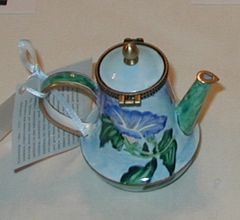 Enamel over copper painted tea pot Morning Glory