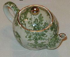 Small collectible tea pot Green toile