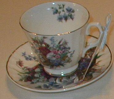 Mixed Bouquet Bone Teacup and Saucer