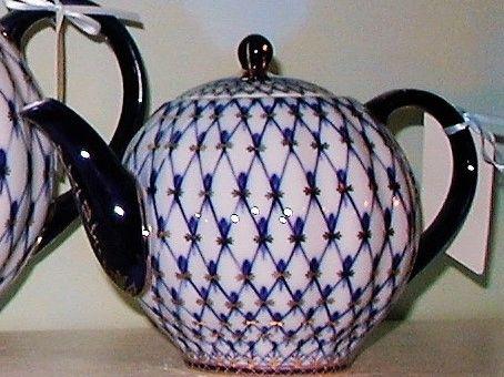Cobalt Net Teapot