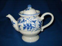 Blue Ribbed tea pot