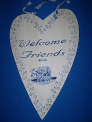 """Welcome Friends"" sign"