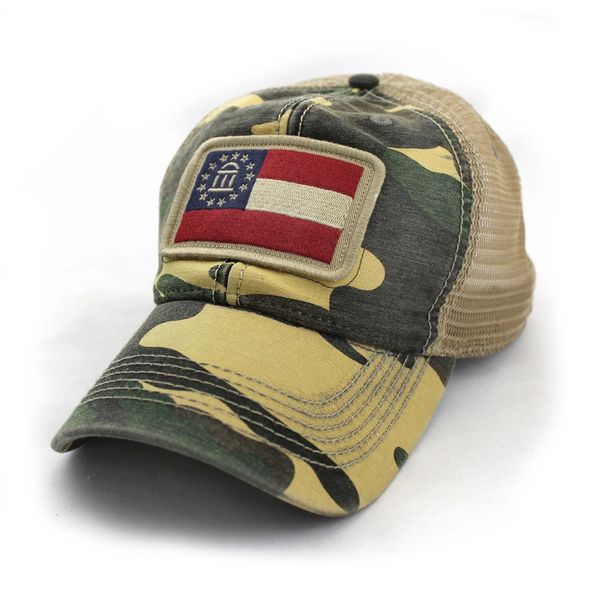 Georgia Flag Patch Trucker Hat, Camouflage