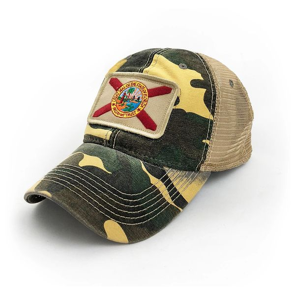 6111e98d7 Florida Flag Patch Trucker Hat, Camouflage