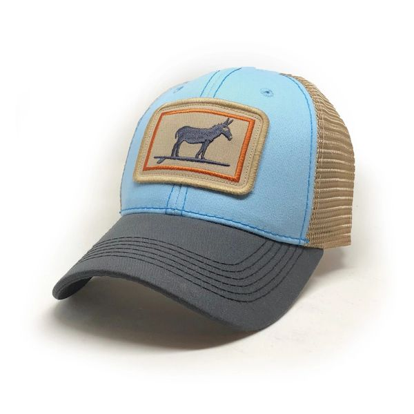 Everyday Trucker Hat, Structured, Surfing Jackass, Sky Blue and Charcoal