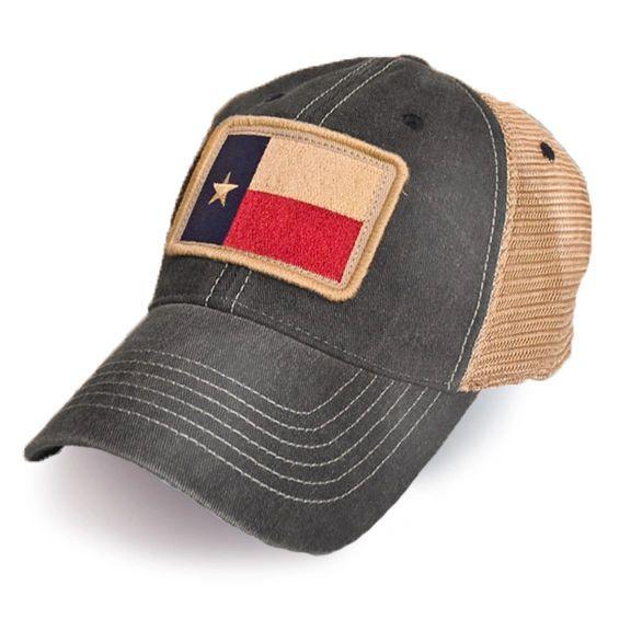 Texas Flag Patch Trucker Hat, Black