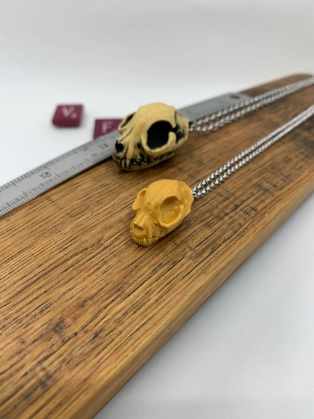 Resin Cat Skull Necklace in Small or Large