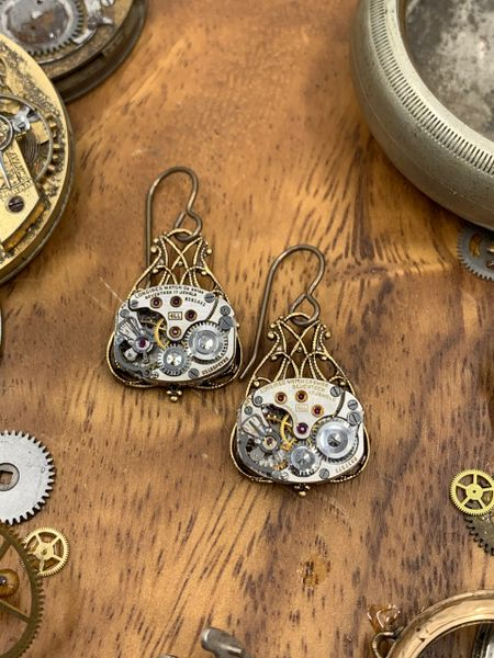 Petit Brass Filigree Drop Earrings with Vintage Watch