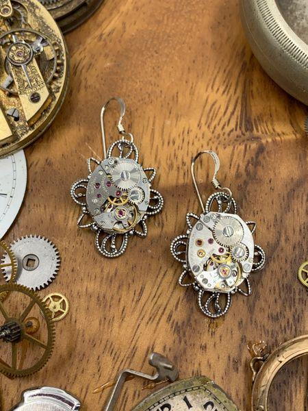 Petit silver Filigree Drop Earrings with vintage Watch