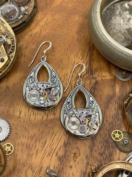 Oval Moroccan motif silver Drop Earrings with vintage Watch