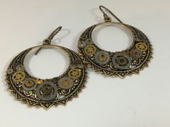 Brass Crescent Drop Gear Earrings