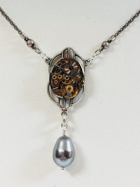 Window Pane necklace with Grey Pearl