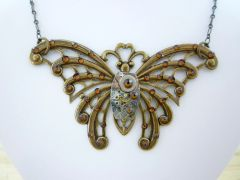Very Large Brass Butterfly with Vintage Watch Movement and Tobac Swarovski Crystals