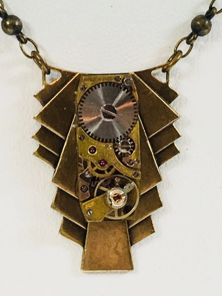 Brass Deco Shield with Vintage Watch Movement