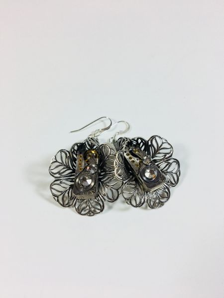 Silver Plated Filigree Tulip Earrings with Vintage Watch Movements and Swarovski Crystals