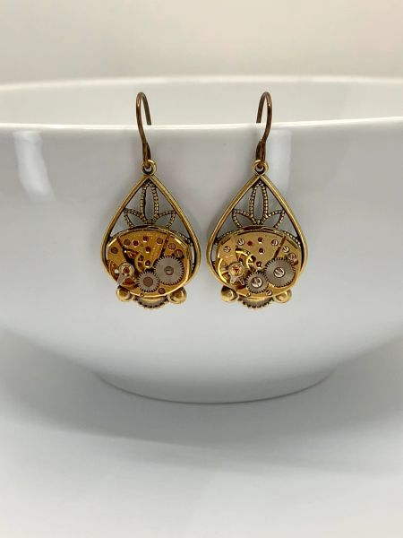 Brass Filigree Drop Earrings with vintage Gilded Bulova Watch Movements