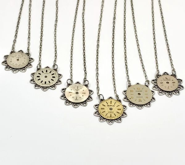 Delicate Flower Necklace with Round Vintage Watch Dial