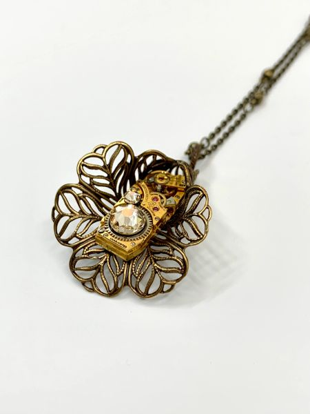 Bronze Filigree Tulip with Rectangular Gilded Vintage Watch Movement and Silk Swarovski Crystals