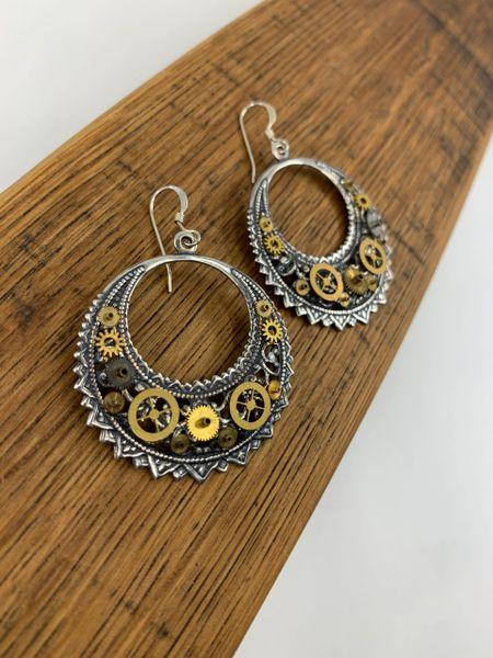 Silver Plated Crescent Drop Gear Earrings