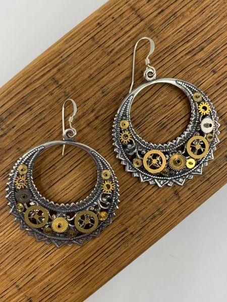 Silver Filigree Crescent Gear Drop Earrings