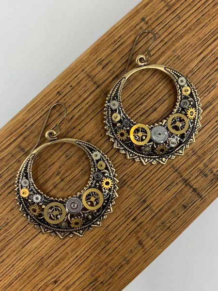 Bronze Filigree Crescent Gear Drop Earrings