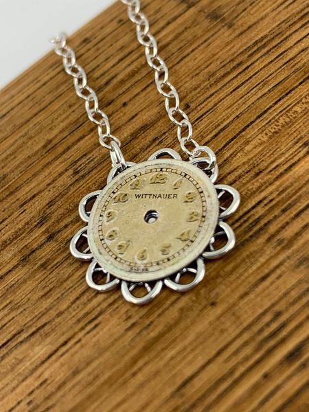 Sterling Silver Delicate Flower Necklace with Round Vintage Watch Dial #2