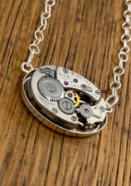 Horizontal Vintage Oval Elgin Watch Movement with Sterling Silver Bezel and Chain